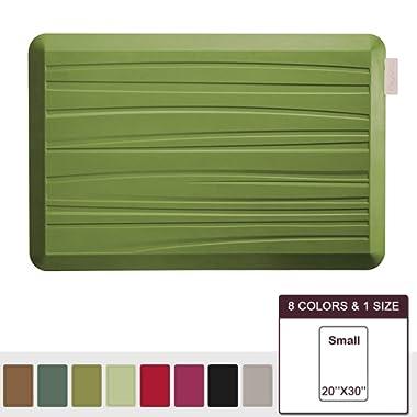 NUVA Premium Anti Fatigue Standing Floor Mat 30 x 20 in, NO PVC!!! 100% PU Comfort Ergonomic Material, 4 Non-slip PU Elastomer Strips on Bottom, 5 Safety Test by SGS (Olive Green, Beach Pattern)