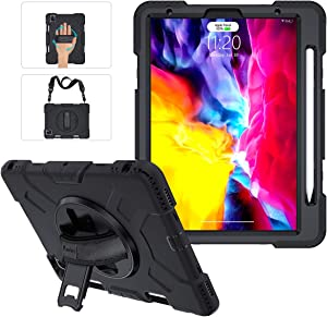 iPad Pro 11 Case 2020&2018 with Apple Pencil Holder,Military Grade [15ft Drop Tested] Heavy Duty Rugged Silicone Protective Cover for iPad Pro 11 Inch 2nd Generation+Stand+Handle Hand&Shoulder Strap