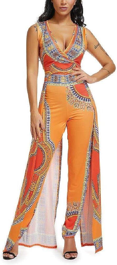 Sebaby Women Straight Leg Sleeveless Dashiki Ethnic Style Jumpsuits