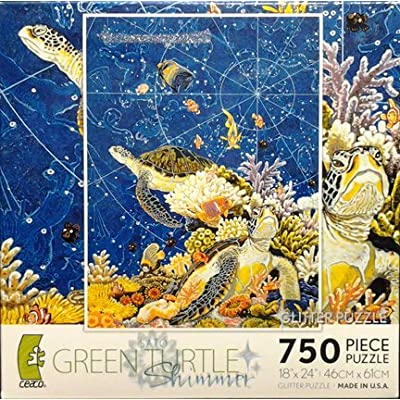 Sato Green Turtle Shimmer 750 Piece Glitter Puzzle Made In Usa Puzzle By Ceaco