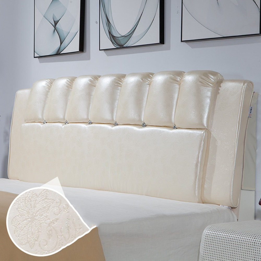 6  With headboard-150cm WENZHE Upholstered Fabric Headboard Bedside Cushion Pads Cover Bed Wedges Backrest Waist Pad Double Bed Soft Case Pillow Large Back Home Bedroom Sofa Multifunction Easy To Clean, There Is Headboard   No Headboard, Thickness 8cm, 6