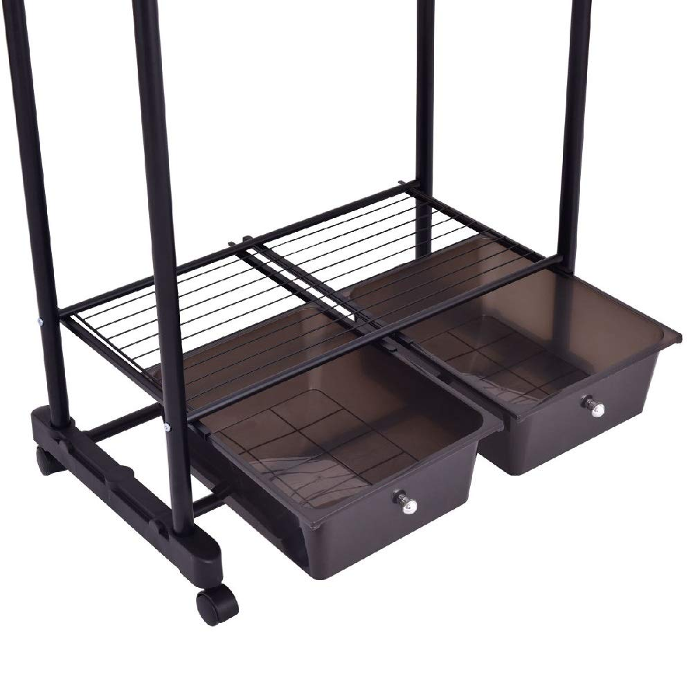 Drying Rack Towel Clothes Store Hanger Storage Stick Shelf Rolling Shelves Folding Drawers by Sgood (Image #7)
