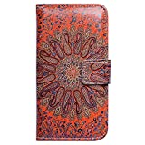 Beaucov Packing Bcov Tribal Red Flower Style Wallet Leather Cover Case For iPhone 5 5S SE