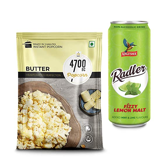 [Pantry] 4700BC Instant Popcorn, Butter, 90g, with Free Radler Mint Lime CAN, 300 ml