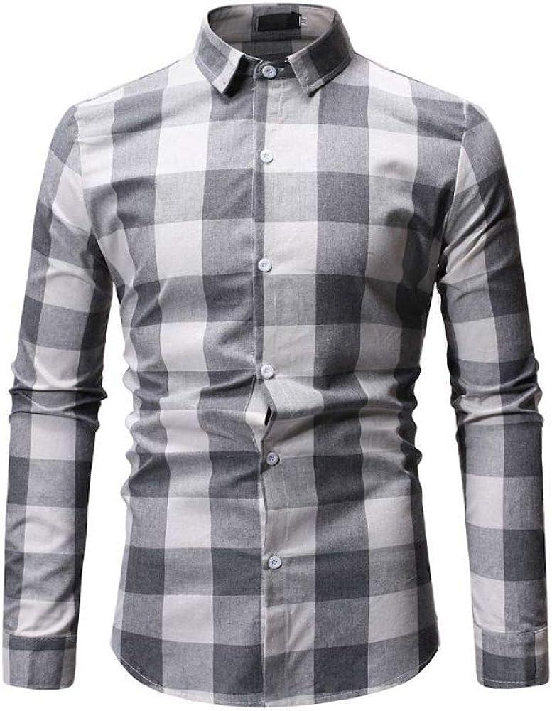Camisa de los hombres a cuadros casual solapa de los hombres de manga larga floral camisa de los hombres