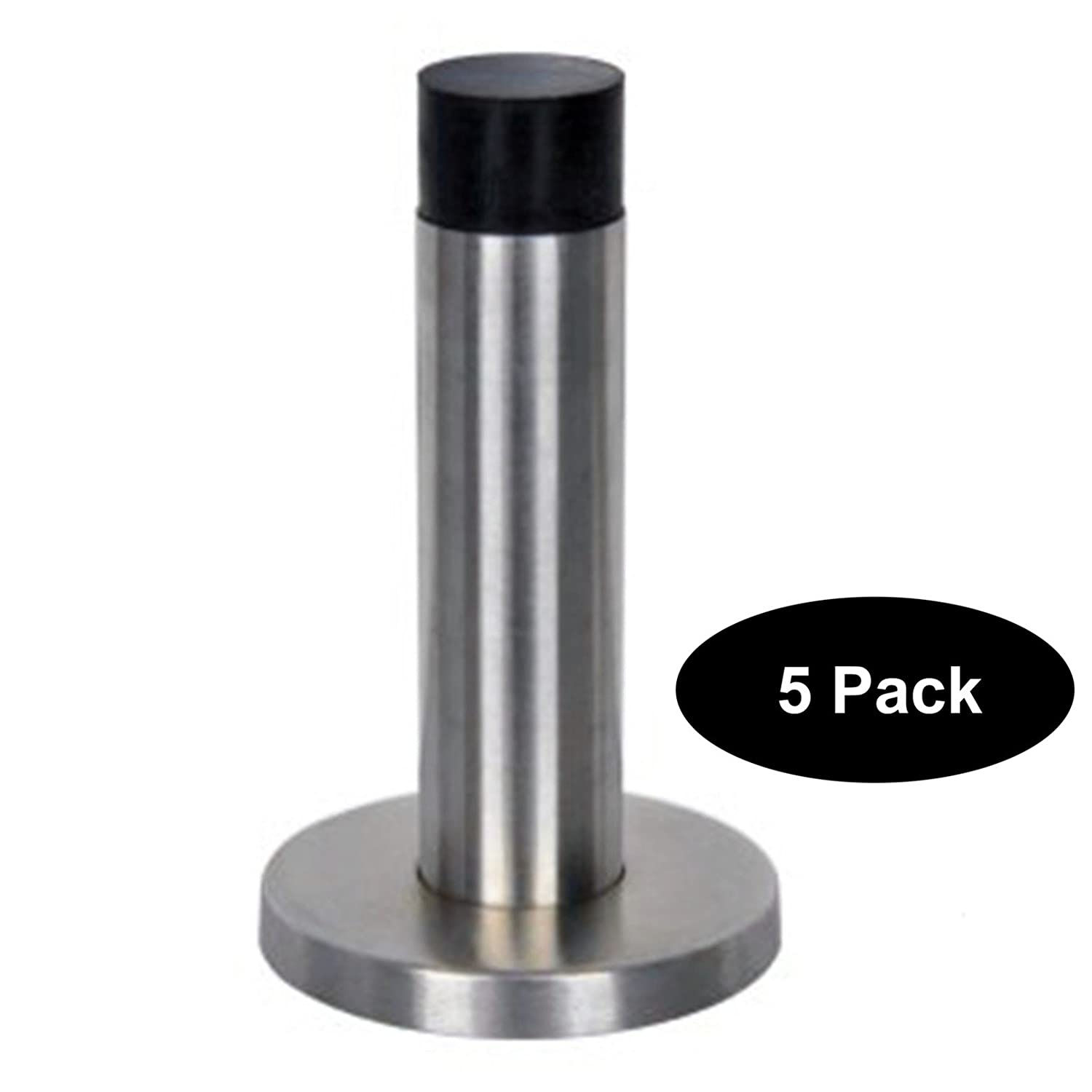 5 PCS Stainless Steel Rubber Door Stopper Stop Security Bar Wedge Brushed Satin Nickel Projection 85mm 3-2//5