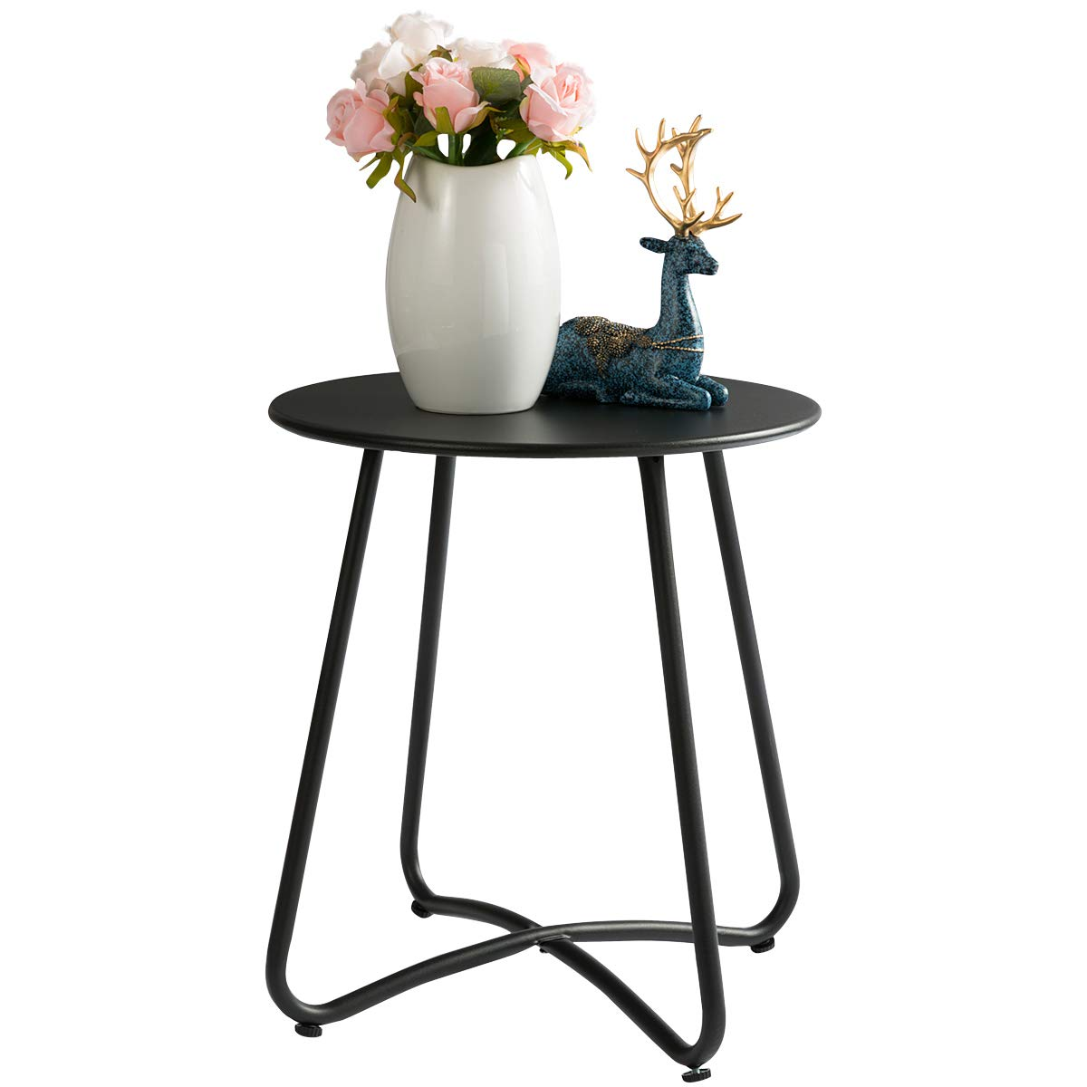 """HollyHOME Small Round Patio Metal Side Snack Table, Accent Anti-Rust Steel Coffee Table for Garden, Modern Weatherproof Outdoor End Table, (H) 17.55"""" x(D) 15.60"""", Black"""