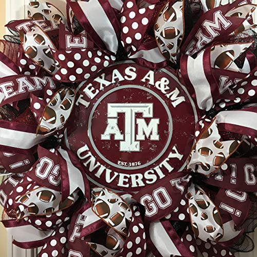 Texas A&M Aggies Wreath for front door with deco mesh & ribbon, TAMU, 26""