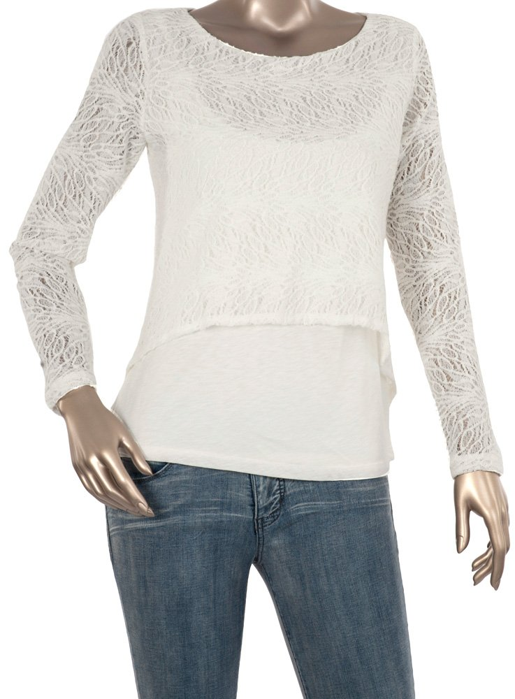 Miraclebody by Miraclesuit Women's Casey Cropped Sweater Tee, Ivory, Small