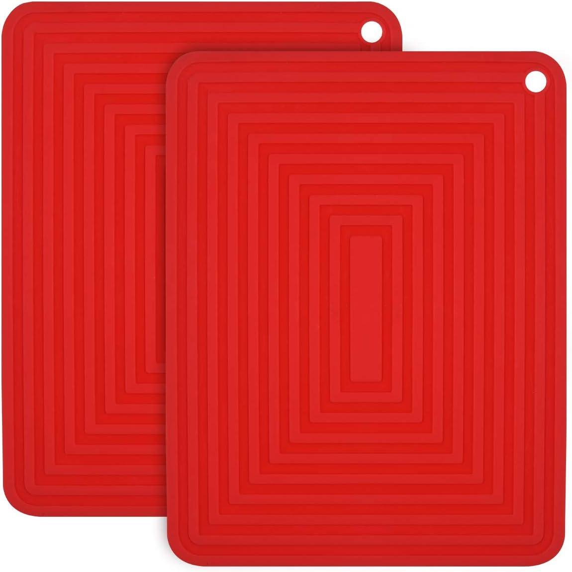 2PCS Anti-d/érapant Anti-Chaleur 250 /°C Multifonction Repose-cuill/ère Dessous de Verre de Cuisine Tapis de Table pour Cuisine et Salle /à Manger flintronic Dessous de Plat Silicone Grand Rouge