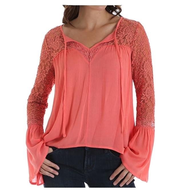 Amazon.com: Wrangler - Blusa de encaje con mangas para mujer ...