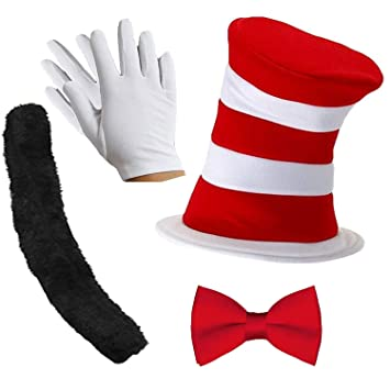 RED AND WHITE STRIPED HAT GLOVES TIE FANCY DRESS CAT COSTUME CRAZY KIDS WORLD BO