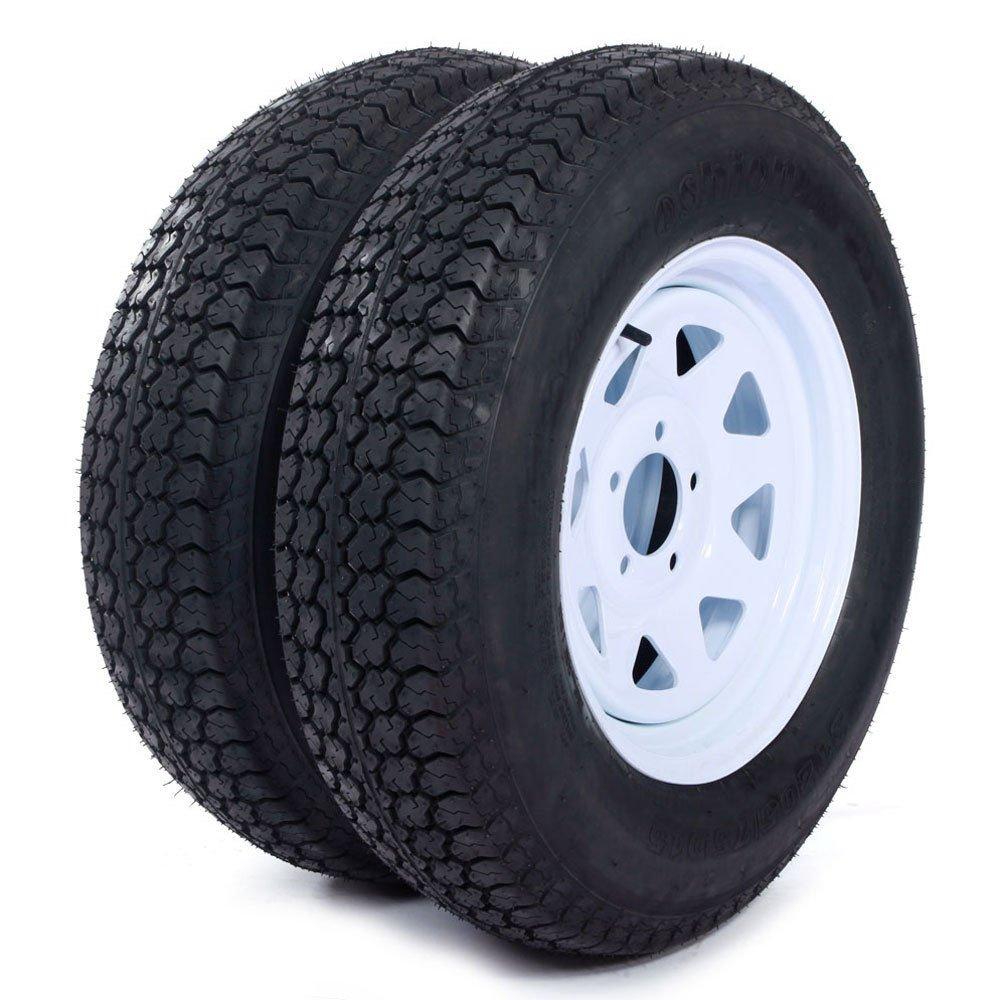 "Set of 4 Trailer Tires & Rims ST205/75D15 F78-15 205/75-15 15"" LRC 5 Lug White Spoke"