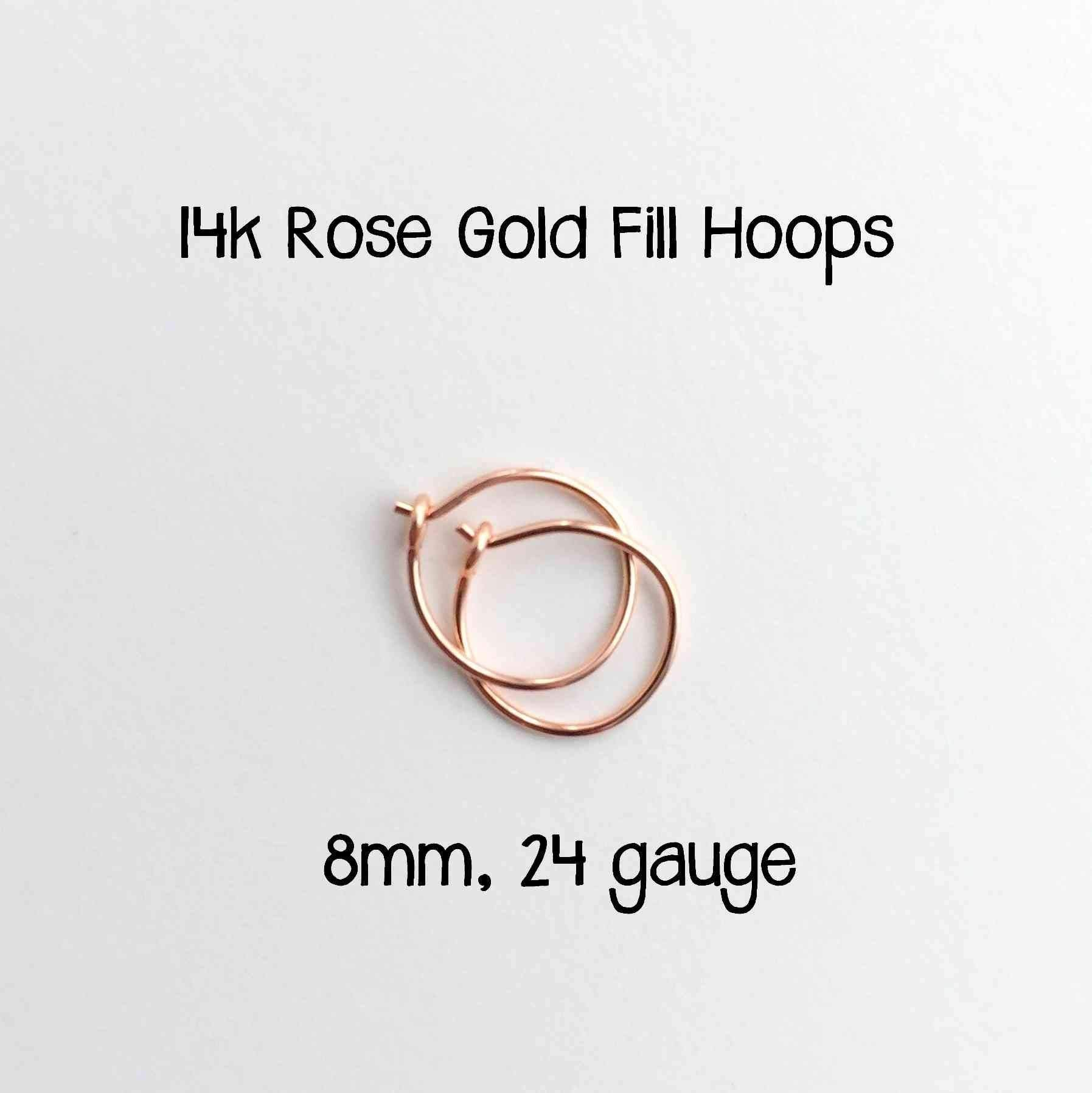Sensitive Ears Earrings. 14k Rose Gold Fill Hoops 8mm, 24 gauge Handmade, Lightweight and Extra Thin