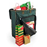 [Gift Bags with Tissue Paper Storage Bag] - Protect All of Your Tissue Paper Gift Wrap | Tiered Rods Hang Your Premium Christmas Tissue | Separated Compartments for Your Giftbags