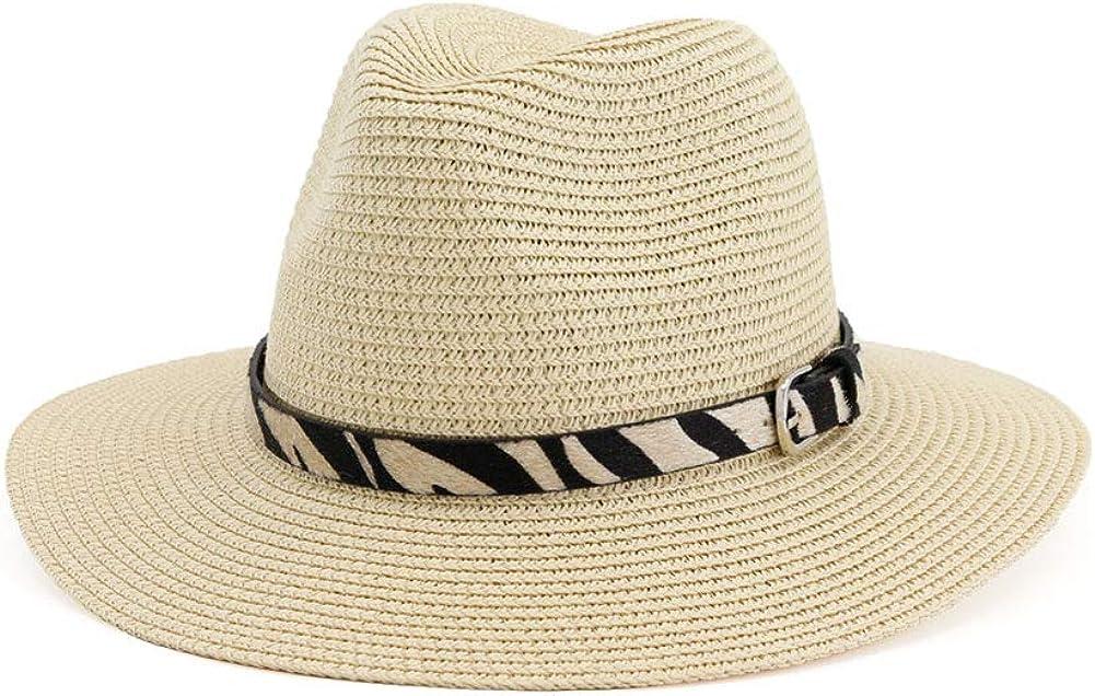 Lisianthus Women Belt Buckle Straw Fedora Sun Hat Wide Brim