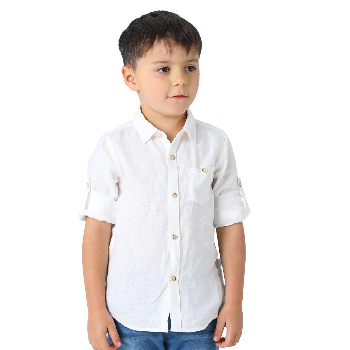 marc janie Spring Baby Boys Kids' Linen Shirt Solid Long Sleeve Button-Down Shirt 5T White 18953