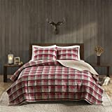 Woolrich Tasha Full/Queen Size Quilt Bedding Set - Red, Plaid – 3 Piece Bedding Quilt Coverlets – Cotton Flannel Bed Quilts Quilted Coverlet