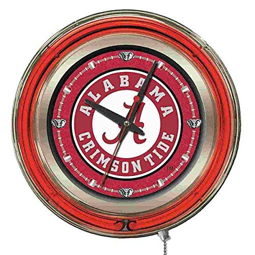 Holland Bar Stool Co. Alabama Crimson Tide HBS Neon Red A Logo Battery Powered Wall Clock (15