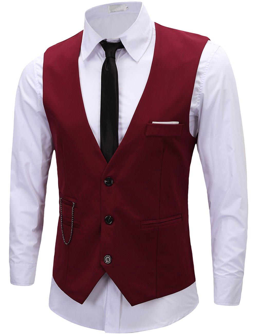 DOKKIA Men's Formal Dress Business Slim Fit Sleeveless Jacket Waistcoat Vest (Medium, Burgundy)
