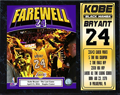 Encore Select 522-14 NBA Los Angeles Lakers Kobe Bryant MVP Stats Plaque, 12-Inch by 15-Inch