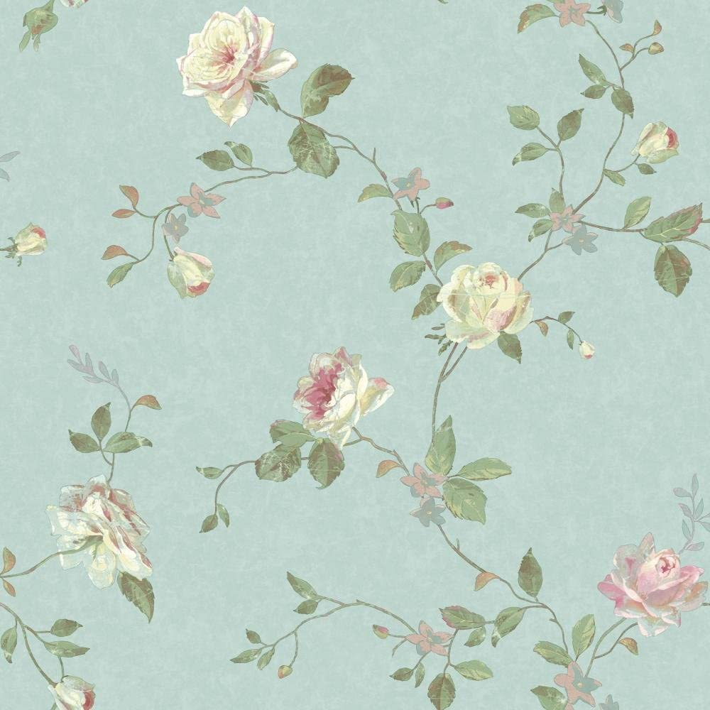 York Wallcoverings Sh5509 Vintage Luxe Floral Trail Wallpaper
