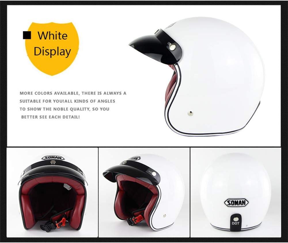 S, M, L, XL, XLL R/étro Harley Casque 3//4 Visage Ouvert Moto Casque de Moto Casque ECE Casque Standard Casque Jet Casque de v/élo avec Pare-Soleil