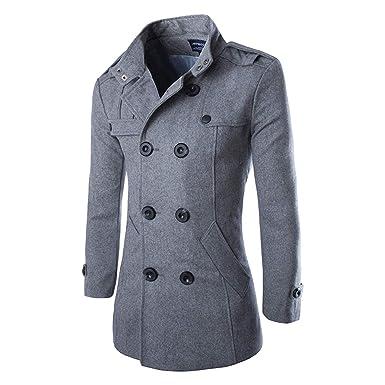 Manteau Homme Laine Hiver Chaud Parka Veste Trench Coat Deux boutonnages  Coupe-Vent  Amazon.fr  Vêtements et accessoires f706e7193308