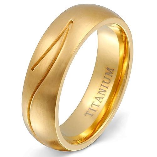 Un elegante boda Anillo, anillo de matrimonio de titanio - con grabado láser: Amazon.es: Joyería