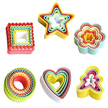 Juego de cortadores de galletas de plástico de 32 piezas, varios tamaños, moldes para
