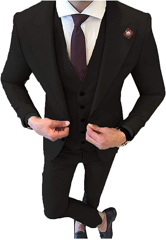 HSLS Mens 3 Piece Slim Fit Suits Two Buttons Wedding Tuxedo Jacket Vest Trousers