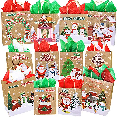 12 Pcs 3 Size Christmas Holiday Party Gift Bags Favor Bags Treats Bags Goodie Bags Gift Wrapping Snowman Reindeer Santa Owl Sock Tree Bear Penguin Pattern Kraft Rustic Gift -
