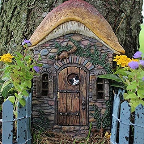 fairy garden door that opens mushroom design with cat and squirrel for miniature fairy gardens - Fairy Garden Miniatures
