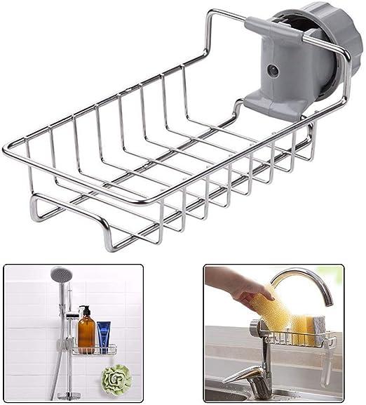 Double Sponge Rack Caddy Kitchen Sink Faucet Bath Soap Storage Draining Holder