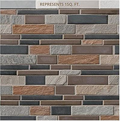 Cobrello Interlocking 12 in. x 12 in. x 8 mm Porcelain and Stone Mesh-Mounted Mosaic Floor and Wall Tile