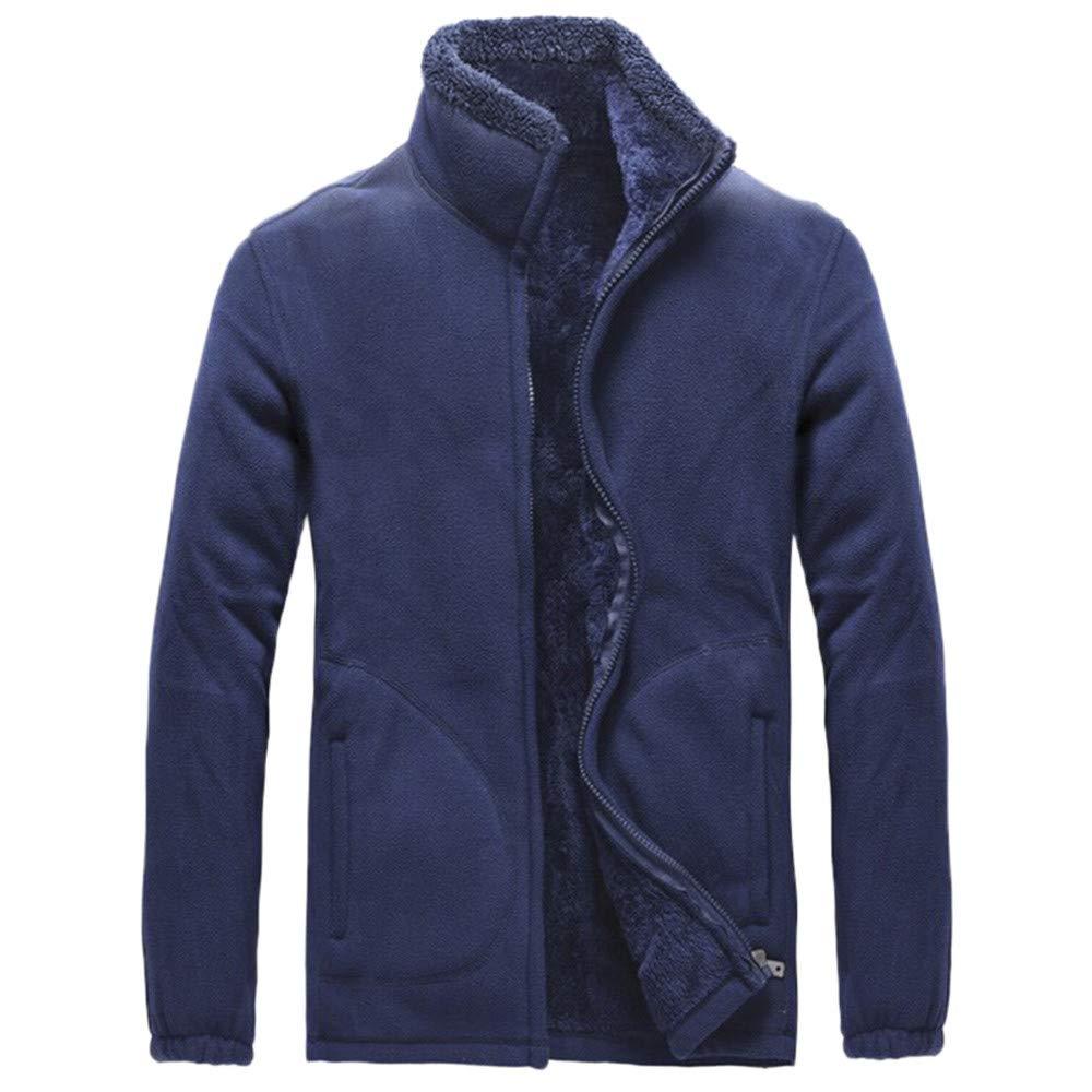 Men's Winter Coat Sale Casual Comfort Long Sleeve Solid Fleece Thicken Windproof Jacket by Dacawin