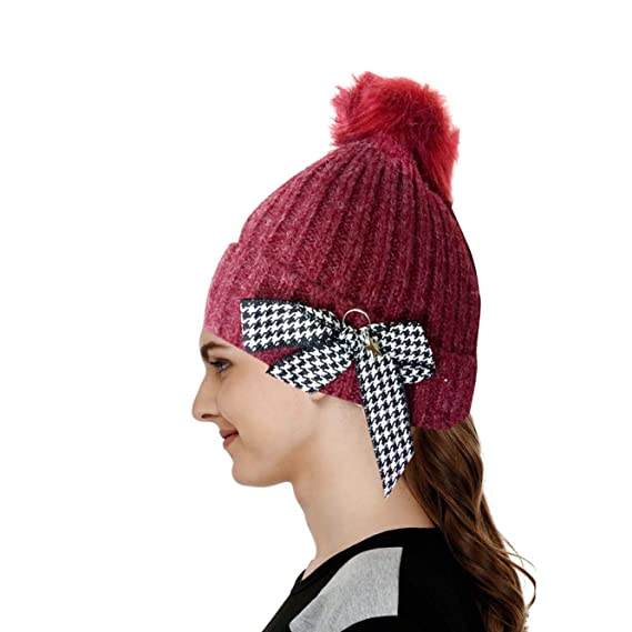 f67188c621e CAP Women s Beanies Slouchy Winter Knit Skull Beanie hat Racoon Real Fur  Pom pom Chunky Baggy Hat in Bow (Red)  Amazon.in  Clothing   Accessories
