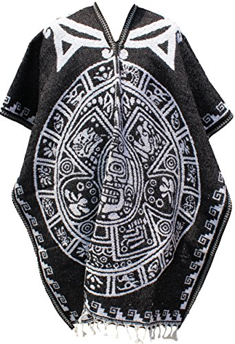 Authentic Super Heavy Mexican Poncho Reversible Blanket Made in Mexico (Choose Design & Color) (Aztec Calendar, Black) ()