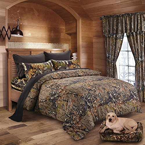 Camo Bed Bag - 20 Lakes Woodland Hunter Camo Comforter, Sheet, Pillowcase Set (Queen, Forest)
