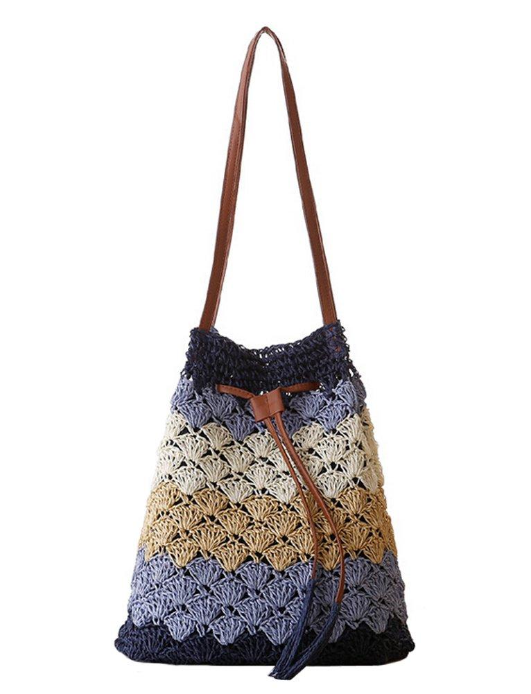 Tonwhar Womens Summer Fresh Paper Straw Bucket Bag Woven Beach Tote Bag (Mixed color-blue)