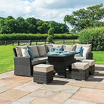 best loved 829b8 797ba Nova Cambridge Left Hand Corner Dining Set - Outdoor Rattan Garden  Furniture Casual Sofa Set with Rising Rectangular Table - Brown Flat Weave