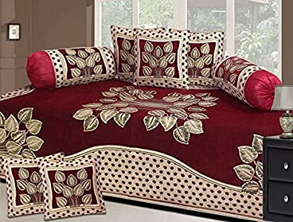 Fresh from Loom 500 TC Floral Design Premium Blue Mehroon Diwan Set - 8pc Set, Maroon