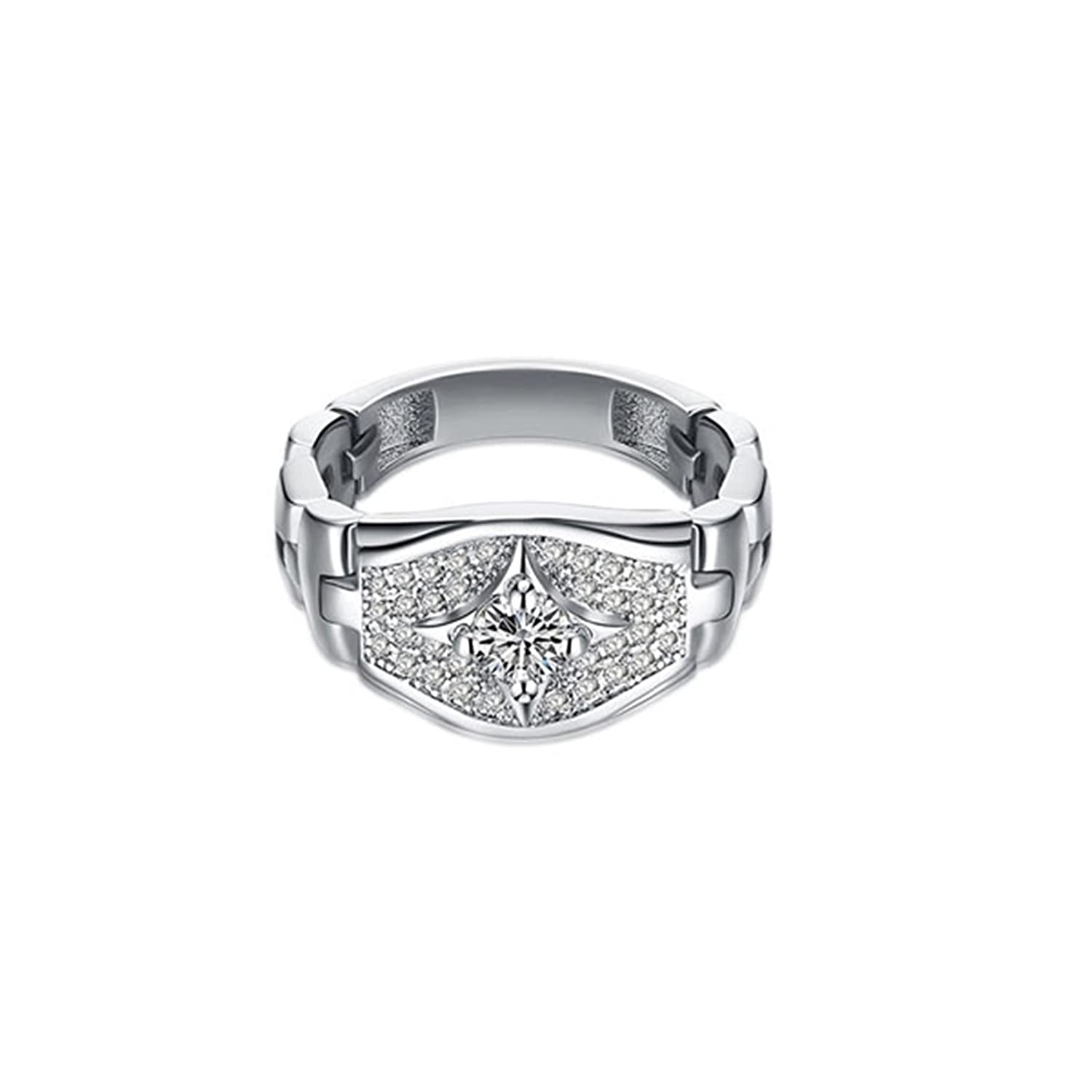Gnzoe Jewelry Silver Plated Ring For Wowen Crystal Round Shape Wedding Band White
