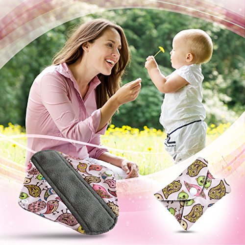 Dutchess Cloth Menstrual Pads - Reusable Sanitary Napkins Premium Bamboo Quality 5 Pack Set - With Charcoal Absorbency Layer to Avoid Leaks, Odors and Staining - Save Money and Landfill Waste Photo #7