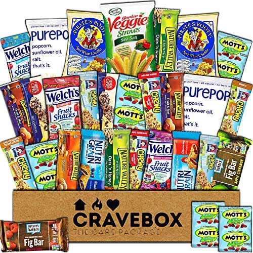 CraveBox Healthy Snacks 30 Count Care Package Variety Box Gift Pack Assortment Basket Bundle Mixed Bulk Sampler Natural Bars Nuts Fruit Chews College Finals Students Office Trips Summer Camp Boy