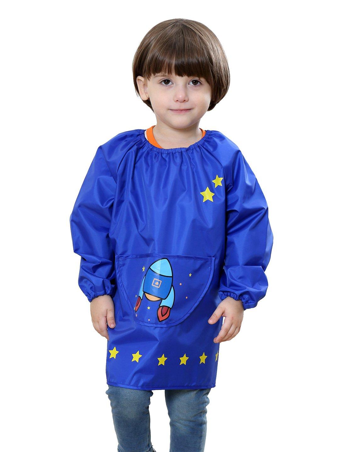 Toddler Children's Waterproof Pullover Long Sleeved Bib Smock Rocket Printing Kids Polyester Lightweight Painting Eating Apron Blue 6-10 T