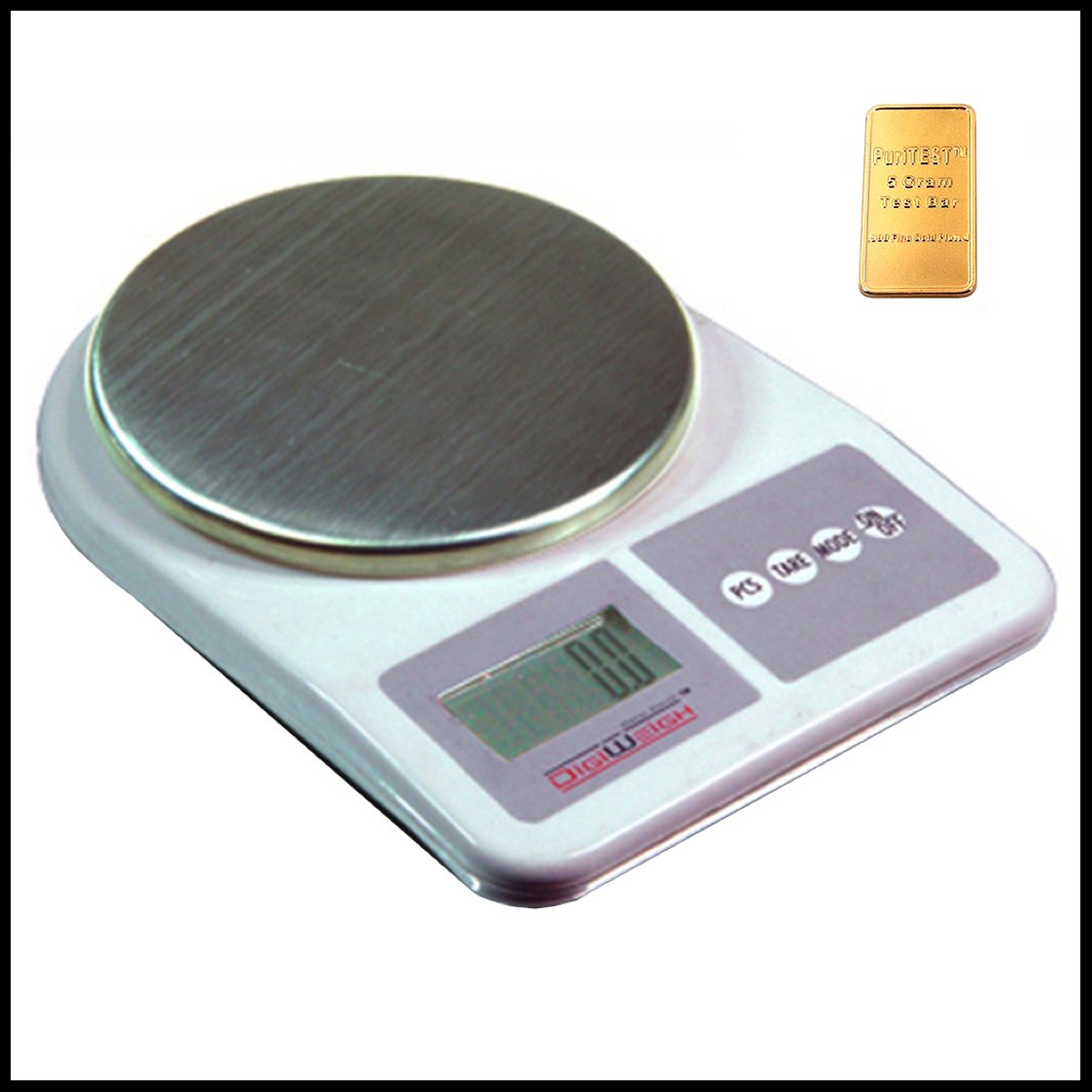 DigiWeigh Dwp-1001 Digital Table Top Jewelry Scale 1000x0.1g, Lock, Silverplate, Case, Handpainted, Ring