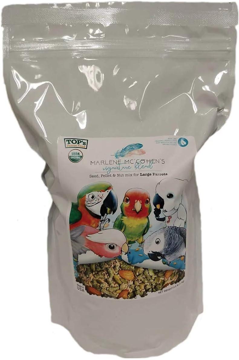 TOP's Parrot Food Marlene Mc'Cohen's USDA Certified Organic Signature Blend Bird Seed and Pellet Mix