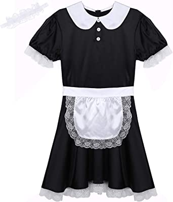 Mens Women Sissy French Maid Dress Costume Lace Underwear Sleepwear Fancy Dress