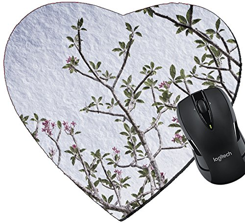 Style Plumeria Flower (MSD Mousepad Heart Shaped Mouse Pads/Mat design 22711231 Branch of tropical flowers frangipani plumeria vintage style textured)
